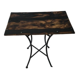 """Shou Sugi Ban"" Style Reclaimed Wood Cafe Table For Sale"