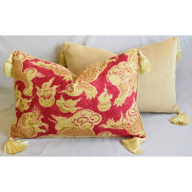 "Chinoiserie Dragon Tasseled Feather/Down Pillows 26"" X 18"" - Pair For Sale - Image 12 of 13"