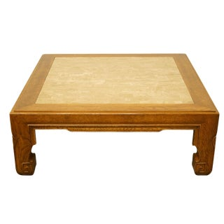 """20th Century Asian Inspired Walnut 44"""" Square Accent Coffee Table For Sale"""