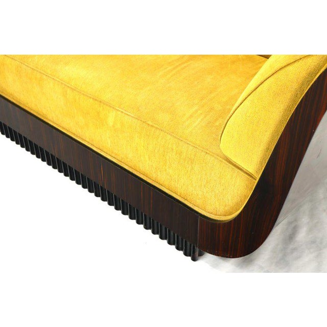 Art Deco Large French Art Deco Rosewood Sofa in Gold Upholstery Scalloped Edge For Sale - Image 3 of 13