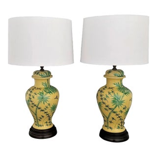1960s Ceramic Porcelain Yellow Ginger Jar Lamps Bamboo Palm Tree Leaves and Birds Table Lamps - a Pair- Asian Mid Century Boho Chic Tropical Coastal For Sale