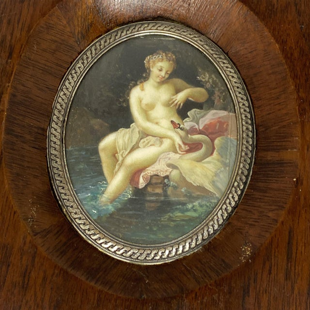 """Figurative 19th Century """"Lida and the Swan"""" Miniature Painting, Framed For Sale - Image 3 of 5"""