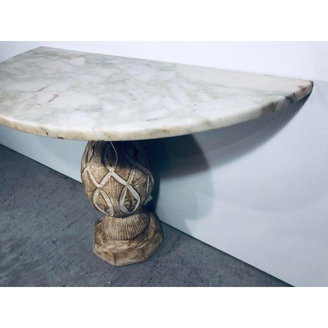 Marble Mediterranean Pineapple Sculpted Demi Lune Table With Marble Top, 1970s For Sale - Image 7 of 11