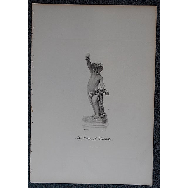 "Neoclassical Antique Engraving ""The Genius of Electricity"" For Sale - Image 3 of 3"