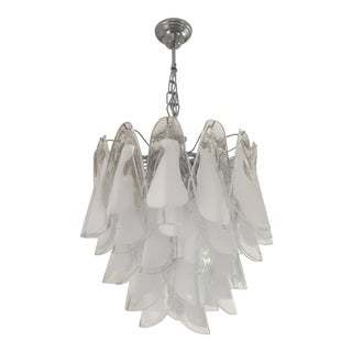 Italian White and Transparent Murano Glass Chrome Metal Frame Chandelier Sputnik For Sale