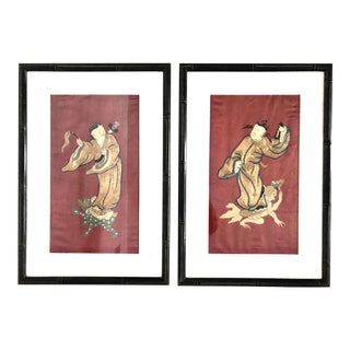 Antique Chinese Mythological Wall Hangings, Panels on Metallic Embroidery on Red Silk - a Pair For Sale