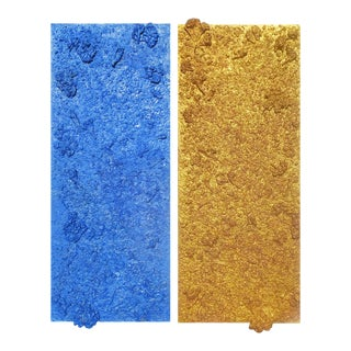 """""""Homage to Yves Klein"""" Contemporary Minimalist Diptych Mixed-Media Painting by Diane Grant For Sale"""