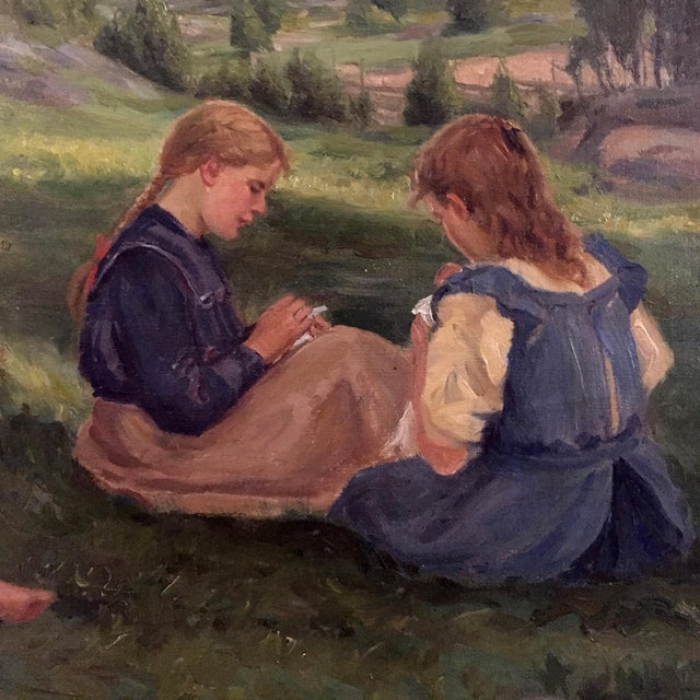 A sweet Swedish country farm field scene from the late 19th century by Bror Tyco Ödberg (1865-1943). Three girls with...
