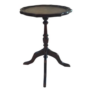 Vintage Leather Top Mahogany Pedestal Wine Table For Sale
