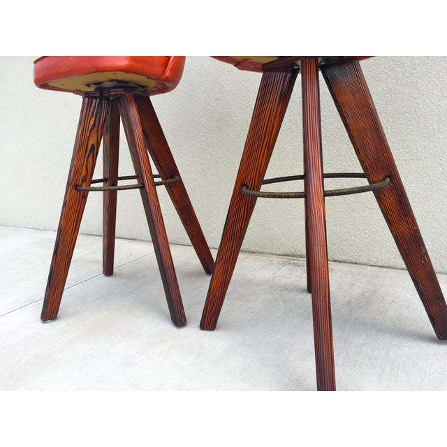 Mid-Century Modern Barstools in Orange - A Pair - Image 6 of 11
