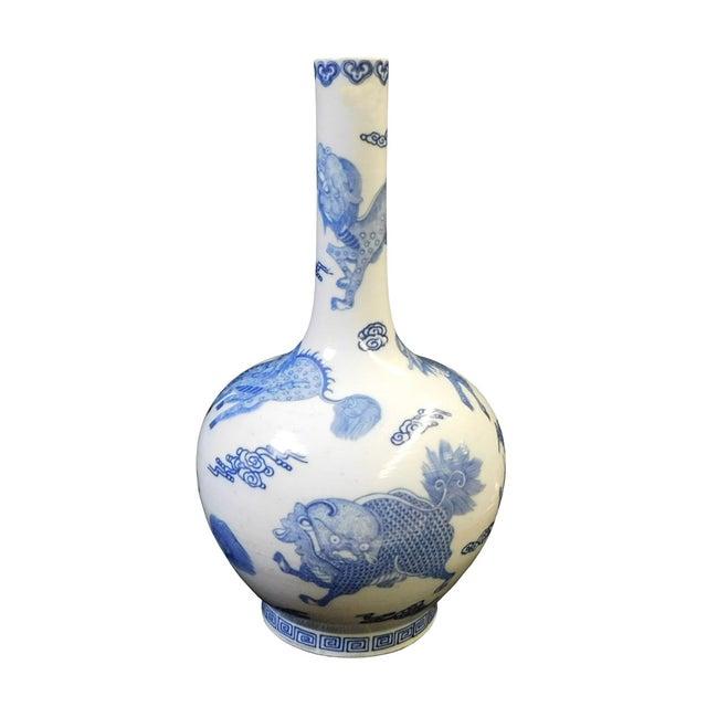 Blue & White Porcelain Kirin Tall Neck Vase For Sale - Image 4 of 7