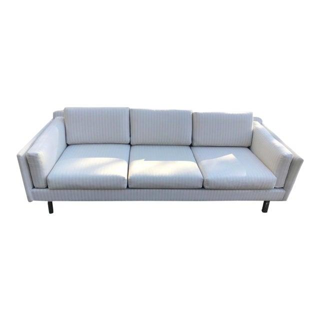 Mid-Century Modern White Linen Sofas - a Pair - Image 1 of 7