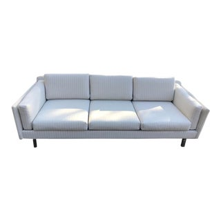 Two Mid-Century Modern White Linen Sofas - a Pair For Sale