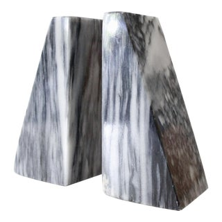 Vintage Black & White Marble Bookends - A Pair