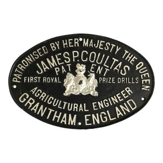 Original English Architectural Engineer Metal Placque For Sale