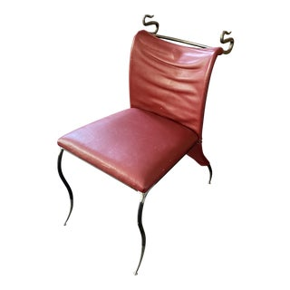1990s Custom Leather & Metal Chair For Sale