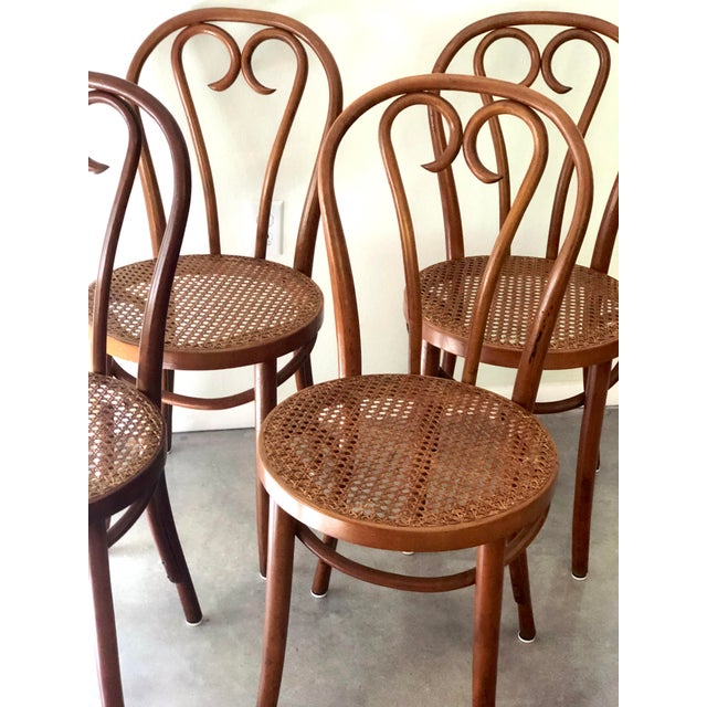 Wood Vintage Thonet Sweetheart Bentwood Cane Bistro Cafe Chairs--Set of 4 For Sale - Image 7 of 9