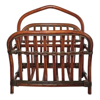 1970's Vintage Rattan & Wicker Magazine Rack For Sale