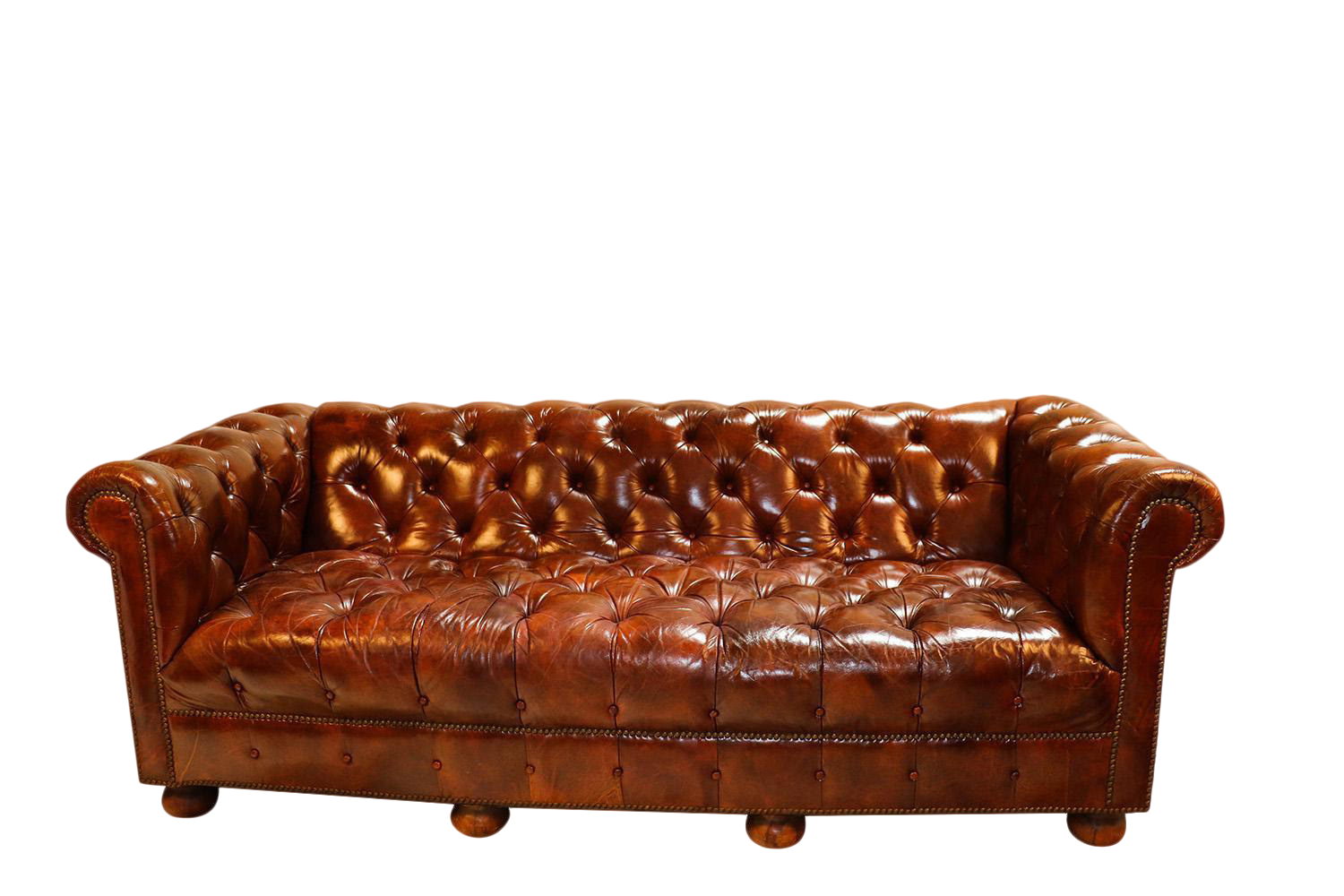 Vintage Chesterfield Style Brown Leather Button Tufted Sofa