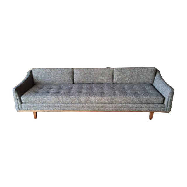 Mid Century Style Sofa With Walnut Trim For Sale