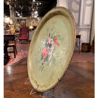 19th Century French Hand Painted Tole Tray With Flowers and Foliage Preview