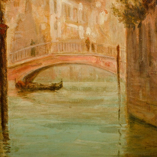 """Canvas 19th Century """"Venice in June"""" Cityscape Oil Painting by Alfred Pollentine For Sale - Image 7 of 10"""