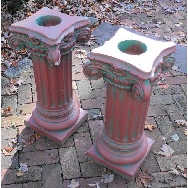 Antique Painted Concrete Corinthian Columns - A Pair For Sale In Philadelphia - Image 6 of 10