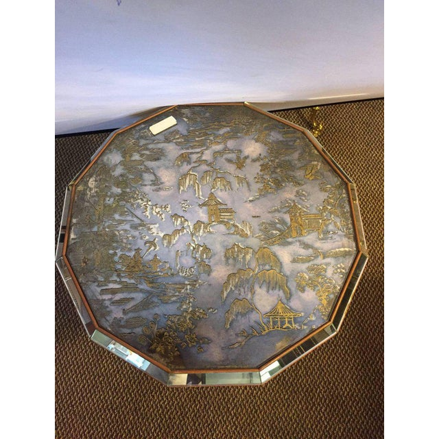 Chinoiserie Style Center Table with Eglomise Glass Top on a Single Pedestal For Sale - Image 9 of 10