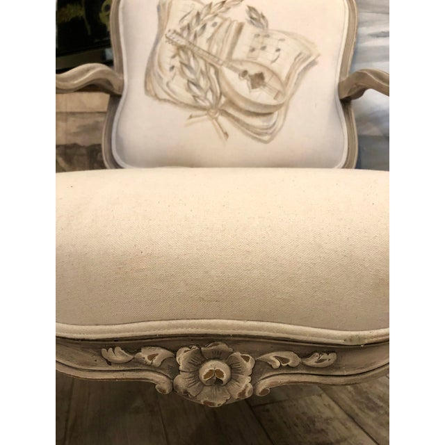 Italian Mid-Century Louis XV Style Hand-Painted Fauteuils - a Pair For Sale - Image 4 of 13