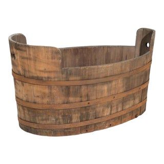Monumental 19th Century Vineyard Iron Banded Wooden Grape Barrel For Sale