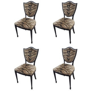 Leopard Fabric Upholstered Shield-Back Chairs - Set of 4 For Sale