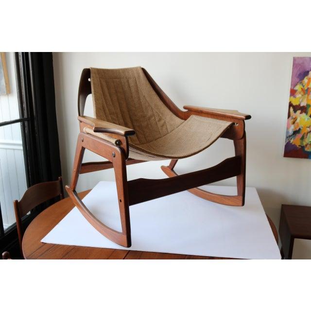 1970's Boho Jerry Johnson Sling Rocking Chair - Image 4 of 8