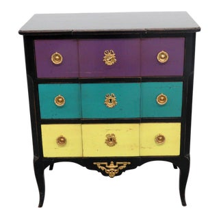 Mid-Century Modern Roche Bobois Paint Decorated Commode For Sale