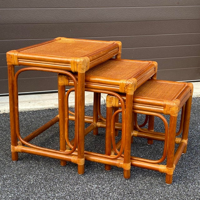 Leather Wrapped Rattan Nesting Tables - Set of 3 For Sale - Image 13 of 13