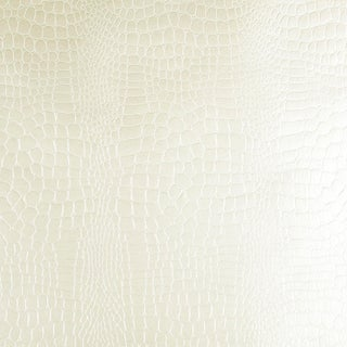 Sample - Schumacher Crocodile Wallpaper in White For Sale