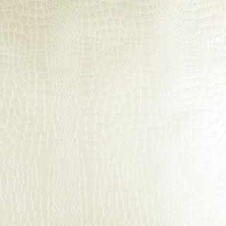 Sample - Schumacher Crocodile Wallpaper in White For Sale