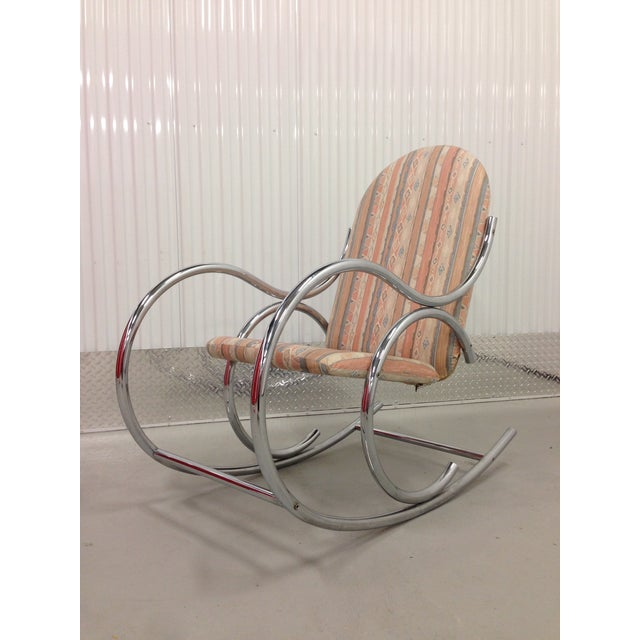 Mid Century Modern Chrome Rocking Chair For Sale - Image 4 of 7