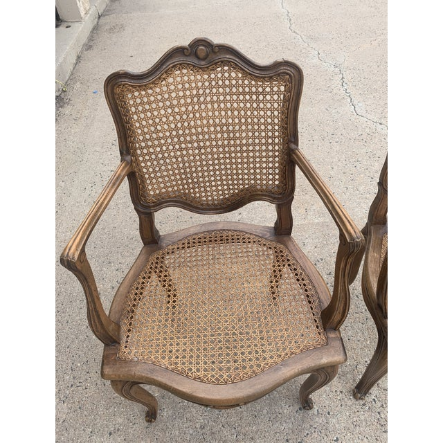 Wood Early 20th Century French Louis XV Style Walnut Caned Fauteuils- a Pair For Sale - Image 7 of 13