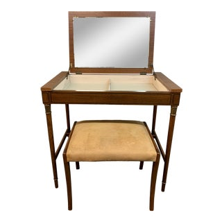 Mid-20th Century Tomlinson Vanity + Mirror & Upholstered Stool For Sale