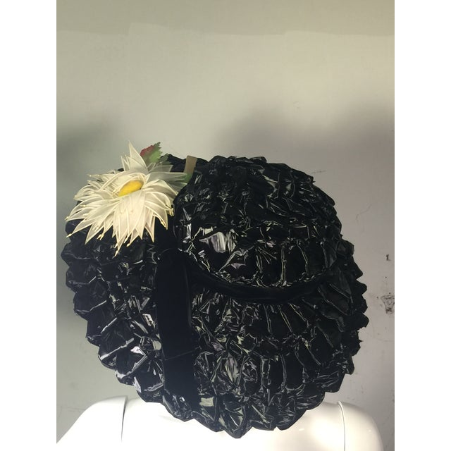 Fabric 1940's Vintage Great Black Ribbon Hat With Amazing Silk Flower For Sale - Image 7 of 13