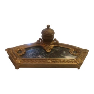 Early 20th Century Antique French Bronze and Marble Inkwell For Sale