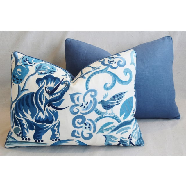 """P. Kaufmann Blue & White Animal Feather/Down Pillows 22"""" X 16"""" - Pair For Sale - Image 11 of 13"""
