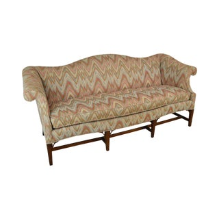 Hickory Chair Co. Vintage Flame Stitch Mahogany Hepplewhite Style Sofa For Sale