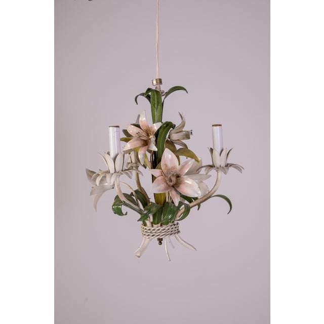 Petite Madcap Cottage 1950s Italian tole lily-themed chandelier in green, pale pink, and yellow. Newly wired and working;...