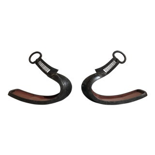 Japanese Edo Period Silver Inlaid Iron Stirrups - a Pair For Sale