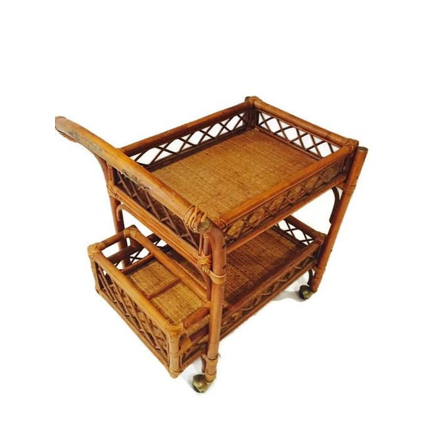 Mid-Century Bamboo & Cane Bar Cart 2 Tier - Image 6 of 8