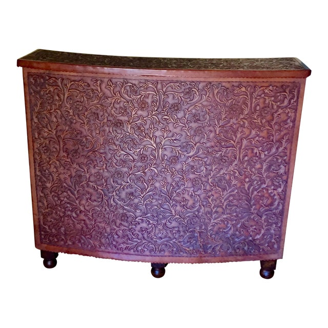 Hand Tooled Leather Bar With Intricate Floral Design, Made in Peru For Sale