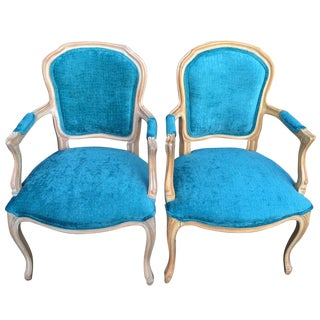 French Aqua Velvet Side Chairs - a Pair