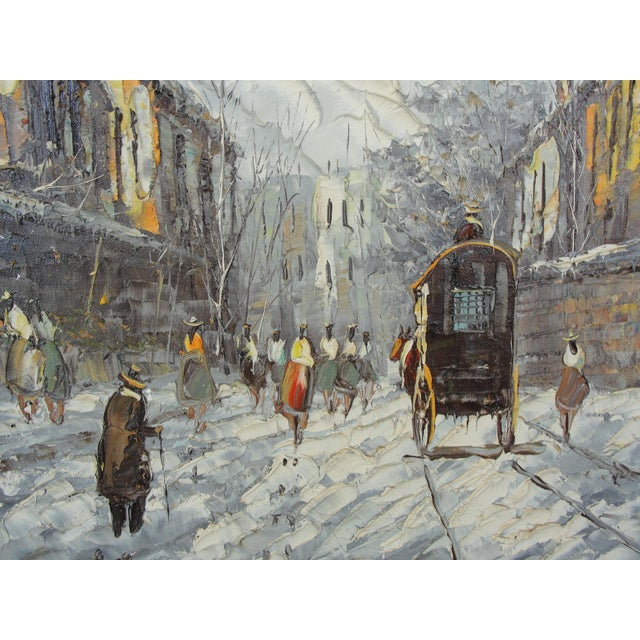 Mid-Century Impressionist Winter Cityscape For Sale - Image 4 of 11