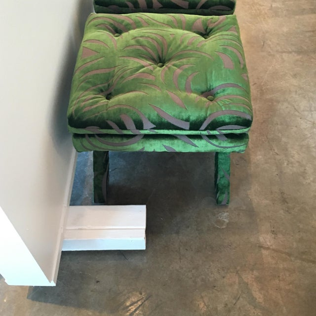 "Pr of Mid Century Modern / Hollywood Glam Newly Upholstered Billy Baldwin ""X"" Benches - Image 8 of 10"